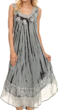 Sakkas Alexis Embroidered Long Sleeveless Floral Caftan Dress / Cover Up#color_Dusty Blue