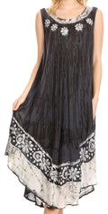 Sakkas Alexis Embroidered Long Sleeveless Floral Caftan Dress / Cover Up#color_Grey / Black