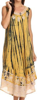 Sakkas Alexis Embroidered Long Sleeveless Floral Caftan Dress / Cover Up#color_Mustard Yellow