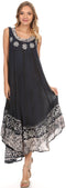 Sakkas Alexis Embroidered Long Sleeveless Floral Caftan Dress / Cover Up