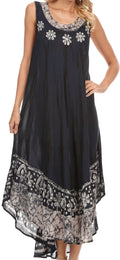Sakkas Alexis Embroidered Long Sleeveless Floral Caftan Dress / Cover Up#color_Navy