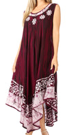 group-Plum (Sakkas Alexis Embroidered Long Sleeveless Floral Caftan Dress / Cover Up)