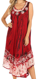 Sakkas Alexis Embroidered Long Sleeveless Floral Caftan Dress / Cover Up#color_Red