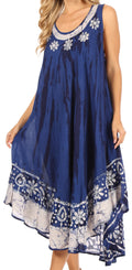 Sakkas Alexis Embroidered Long Sleeveless Floral Caftan Dress / Cover Up#color_Royal Blue