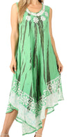 group-Sea Green (Sakkas Alexis Embroidered Long Sleeveless Floral Caftan Dress / Cover Up)