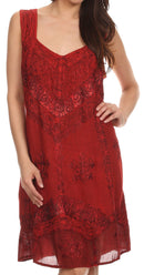 Sakkas Sudha Stonewash Embroidery Mid Length Adjustable dress