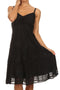 Sakkas Lacey Stonewashed Embroidered Silver Threaded Spaghetti Strap Dress#color_Black