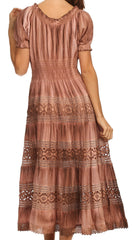 Sakkas Laney Tie Dye Lace Smocked Empire Waist Long Picot Hem Dress