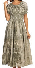 Sakkas Melissa Two Tone Dyed Tiered Smocked Waist Long Dress With Short Sleeves