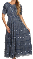 Sakkas Aiden Crepe Peasant Gypsy Boho Long Tie Dye Dress