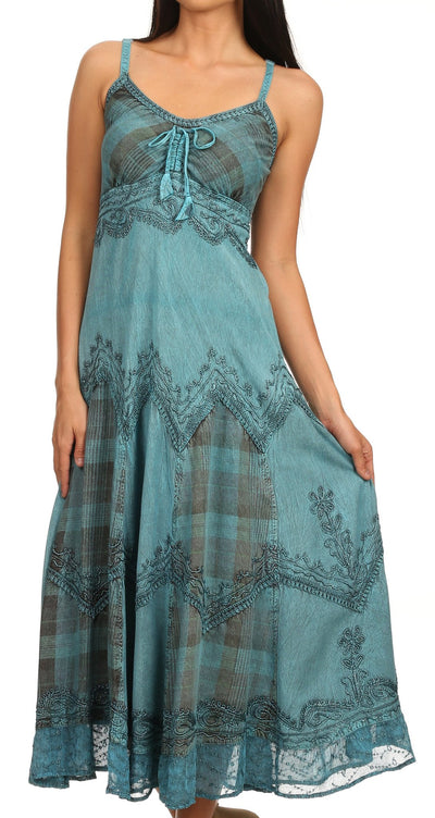 Sakkas Iris Plaid Stonewashed Rayon Embroidered Adjustable Spaghetti Straps Dress