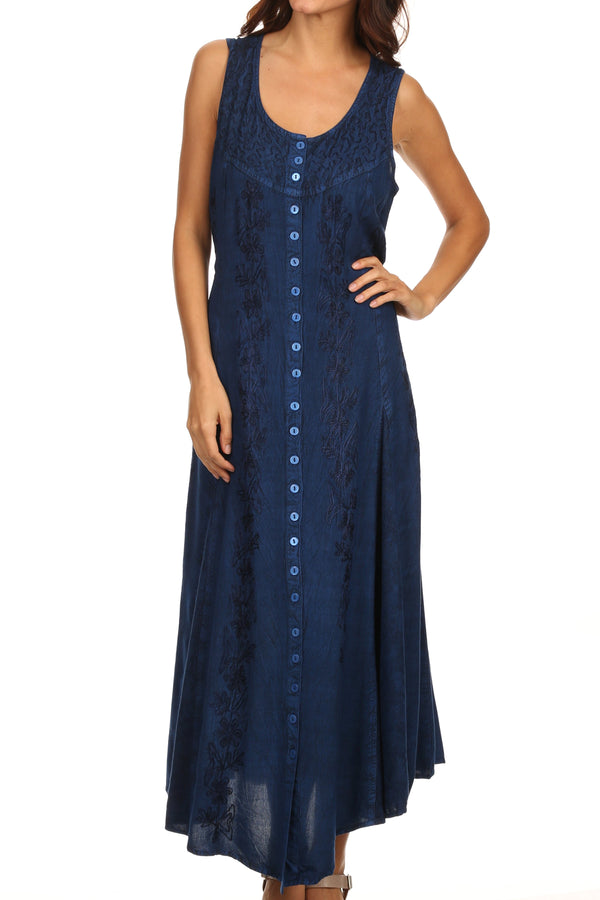Sakkas Maya Floral Embroidered Sleeveless Button Up Rayon Dress#Color_Blue