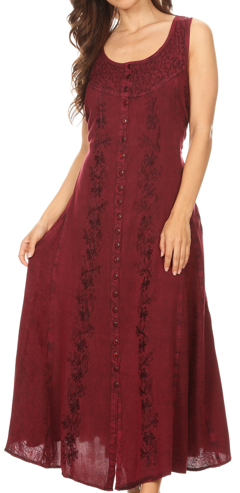 Sakkas Maya Floral Embroidered Sleeveless Button Up Rayon Dress