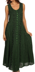 Sakkas Maya Floral Embroidered Sleeveless Button Up Rayon Dress#Color_Green