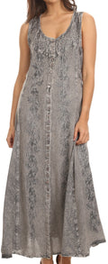 Sakkas Maya Floral Embroidered Sleeveless Button Up Rayon Dress#Color_Grey