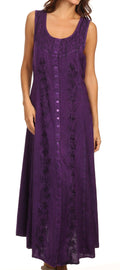 Sakkas Maya Floral Embroidered Sleeveless Button Up Rayon Dress#Color_Purple