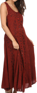 Sakkas Maya Floral Embroidered Sleeveless Button Up Rayon Dress#Color_Red
