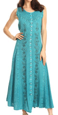 Sakkas Maya Floral Embroidered Sleeveless Button Up Rayon Dress#Color_Turquoise