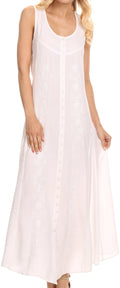 Sakkas Maya Floral Embroidered Sleeveless Button Up Rayon Dress#Color_white