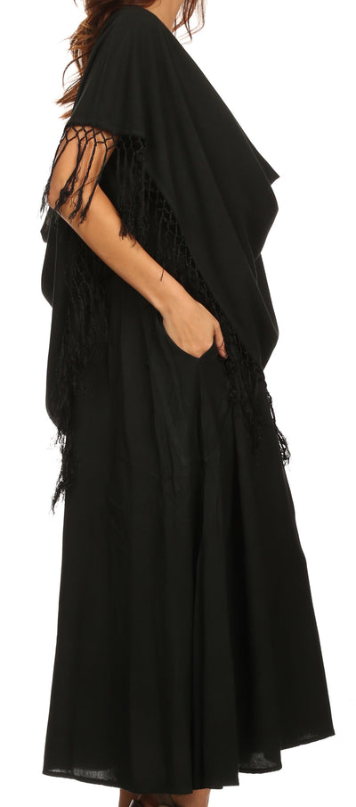 group-Black (Sakkas Emma Relaxed Fit Scoop Neck Double Layered with Fringe Tank Dress)