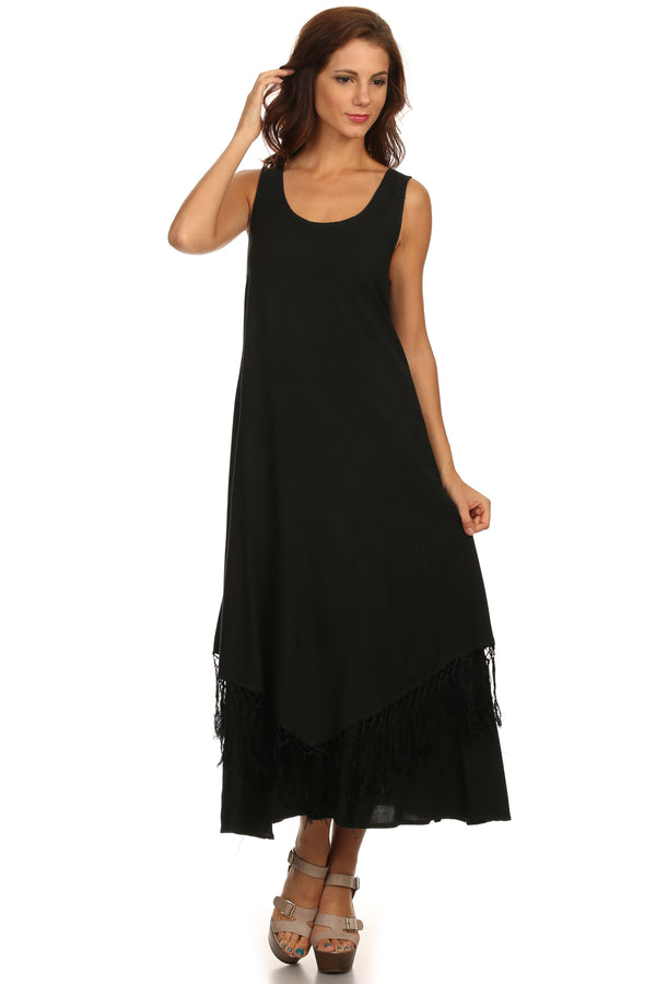 Sakkas Emma Relaxed Fit Scoop Neck Double Layered with Fringe Tank Dress#color_Black