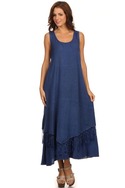 group-Blue (Sakkas Emma Relaxed Fit Scoop Neck Double Layered with Fringe Tank Dress)