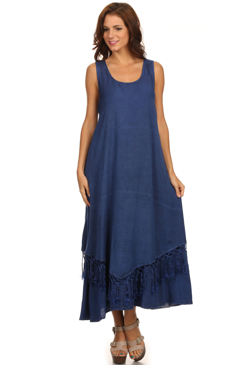 Sakkas Emma Relaxed Fit Scoop Neck Double Layered with Fringe Tank Dress