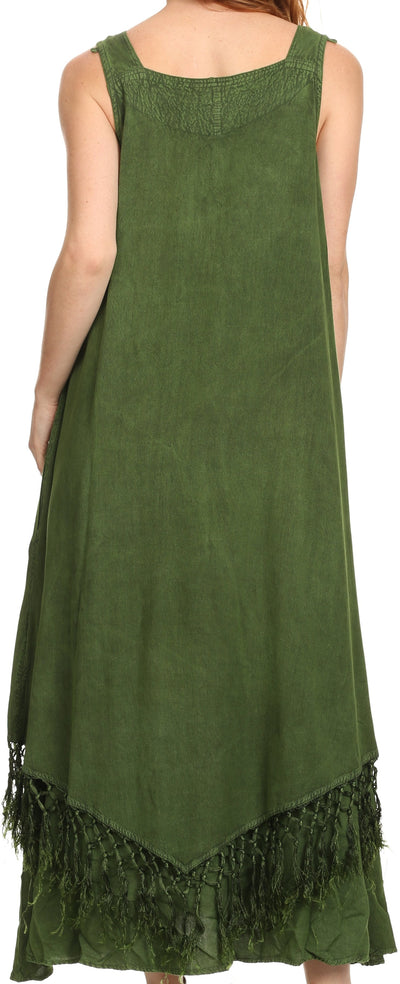 group-Green (Sakkas Emma Relaxed Fit Scoop Neck Double Layered with Fringe Tank Dress)