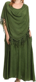 Sakkas Emma Relaxed Fit Scoop Neck Double Layered with Fringe Tank Dress#color_Green