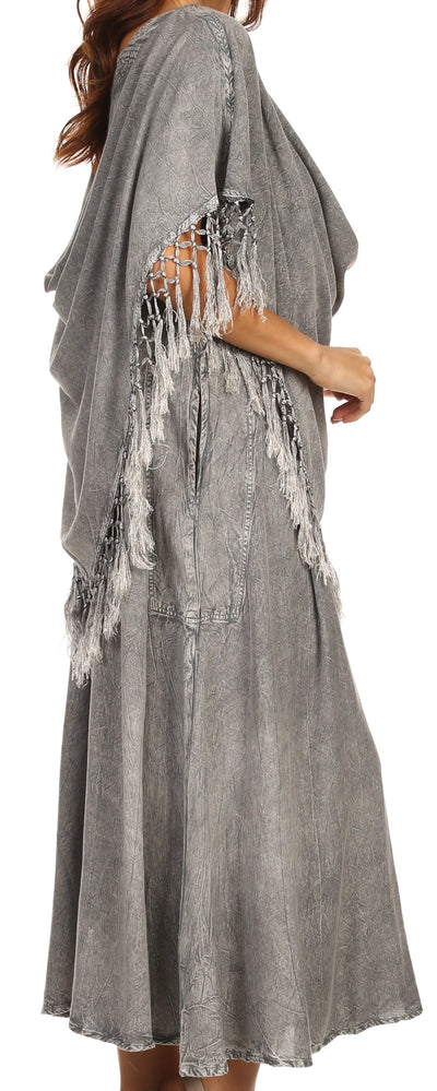 group-Grey (Sakkas Emma Relaxed Fit Scoop Neck Double Layered with Fringe Tank Dress)