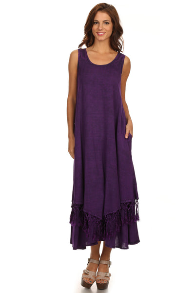 group-Purple (Sakkas Emma Relaxed Fit Scoop Neck Double Layered with Fringe Tank Dress)