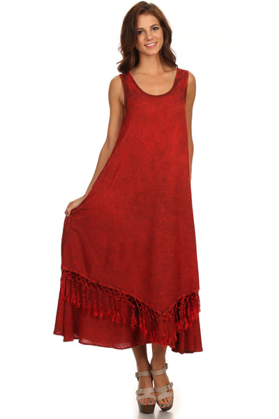 group-Red (Sakkas Emma Relaxed Fit Scoop Neck Double Layered with Fringe Tank Dress)