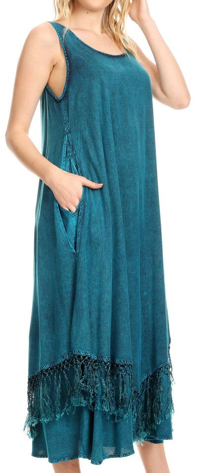 group-Turquoise (Sakkas Emma Relaxed Fit Scoop Neck Double Layered with Fringe Tank Dress)