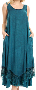 Sakkas Emma Relaxed Fit Scoop Neck Double Layered with Fringe Tank Dress#color_Turquoise