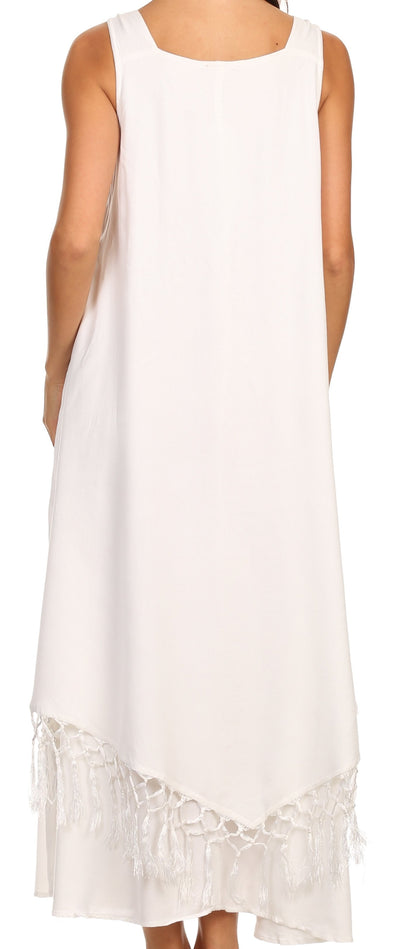 group-White (Sakkas Emma Relaxed Fit Scoop Neck Double Layered with Fringe Tank Dress)