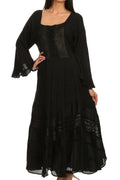 Sakkas Mirabel Stonewashed Corset Style Floral Emboridery Kimono Sleeve Dress#color_ Black