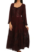 Sakkas Mirabel Stonewashed Corset Style Floral Emboridery Kimono Sleeve Dress#color_ Burgandy