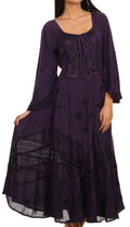 Sakkas Mirabel Stonewashed Corset Style Floral Emboridery Kimono Sleeve Dress#color_ Dark Purple