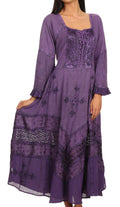 Sakkas Mirabel Stonewashed Corset Style Floral Emboridery Kimono Sleeve Dress#color_ Light Purple