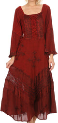 Sakkas Mirabel Stonewashed Corset Style Floral Emboridery Kimono Sleeve Dress#color_Red
