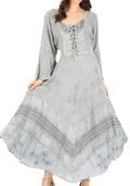 Sakkas Mirabel Stonewashed Corset Style Floral Emboridery Kimono Sleeve Dress#color_ Silver