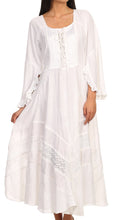 Sakkas Mirabel Stonewashed Corset Style Floral Emboridery Kimono Sleeve Dress#color_ White