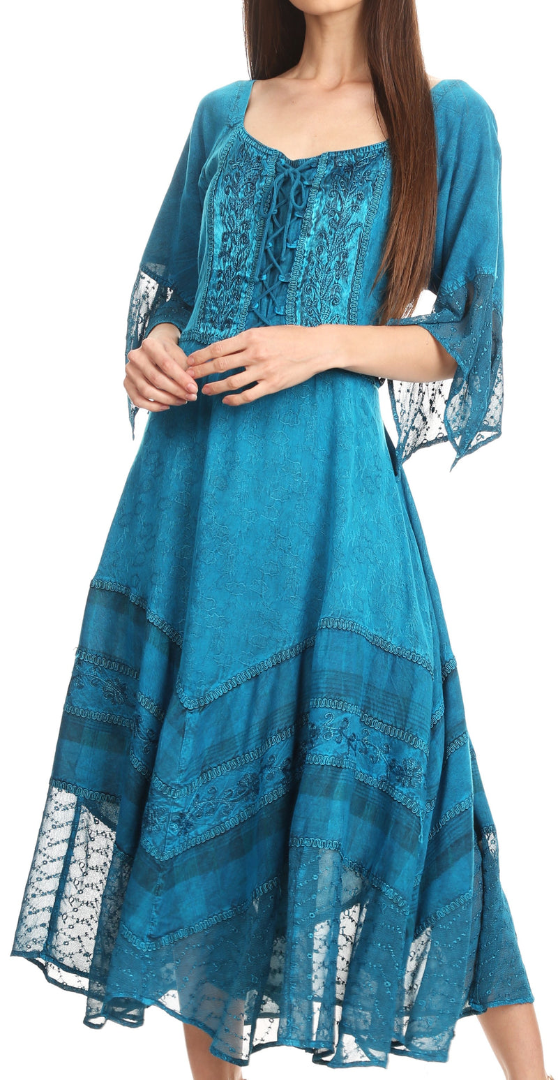 Sakkas Bexley Scoop Neck Bell Sleeve Bohemian Gypsy Embroidered Corset Dress