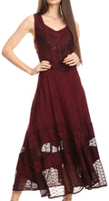 Sakkas Zendaya Stonewashed Rayon Embroidered Floral Vine Sleeveless V-neck Dress#color_Burgandy