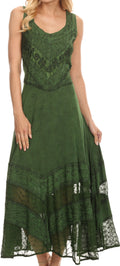 Sakkas Zendaya Stonewashed Rayon Embroidered Floral Vine Sleeveless V-neck Dress#color_Dark Green