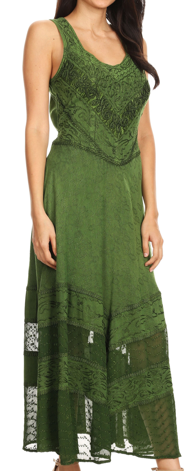 Sakkas Zendaya Stonewashed Rayon Embroidered Floral Vine Sleeveless V-neck Dress