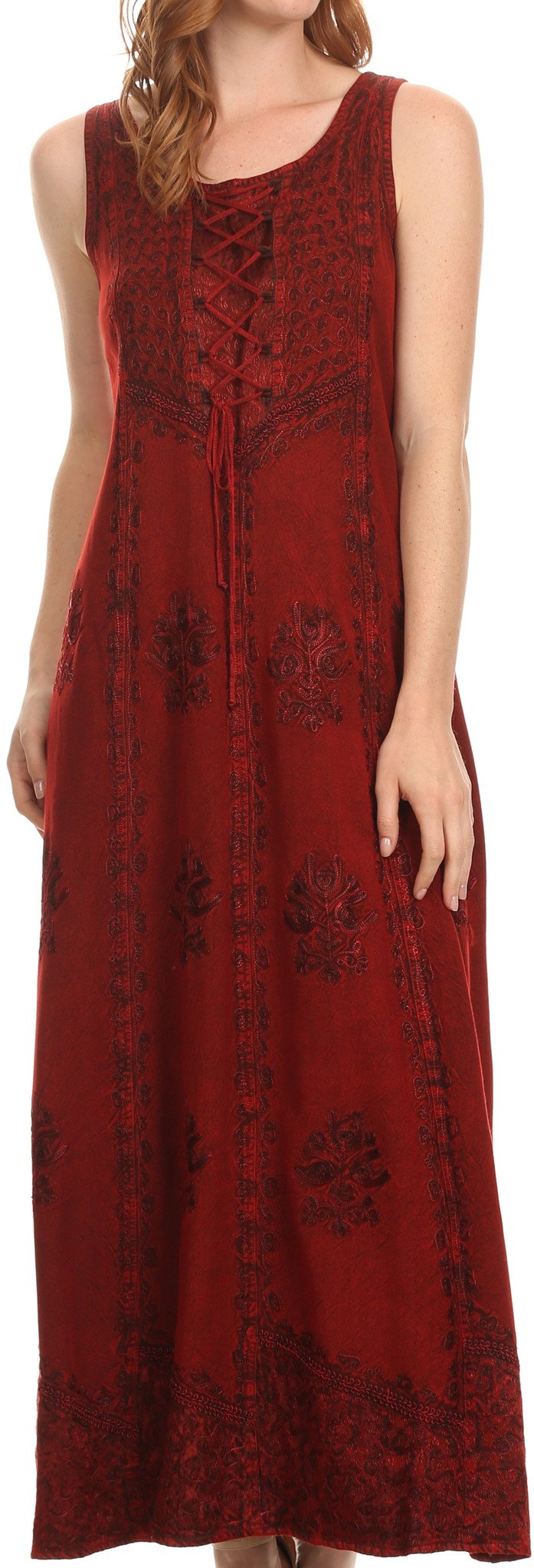 Sakkas Stella Long Tank Top Adjustable Caftan Corset Dress With Embroidery