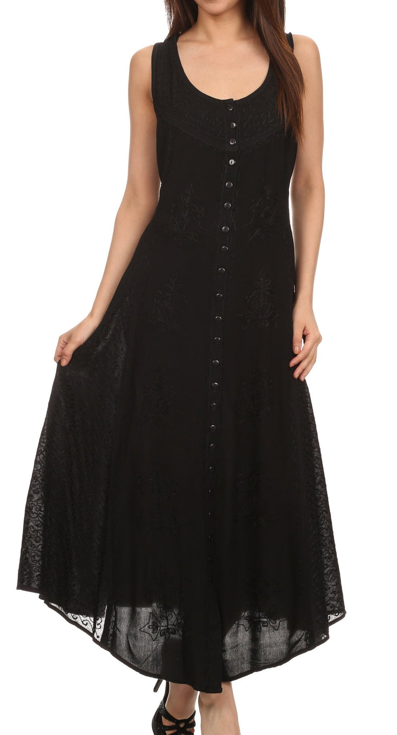 Sakkas Beverlee Embroidered Button Down Sleeveless Caftan Dress