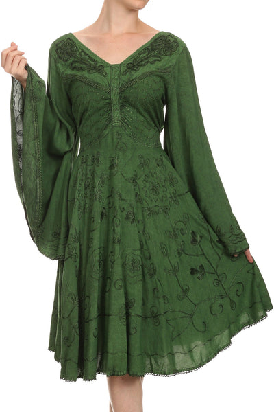 Sakkas Addyson Drop Neck Long Sleeve Embroidered Boho Dress