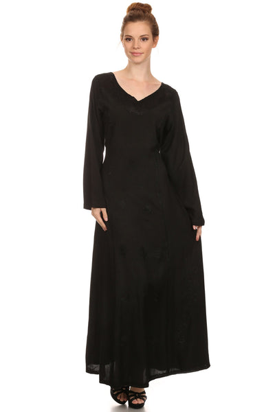 Sakkas Lilybell Embroidered Bell Long Sleeve V-Neck Adjustable Caftan Dress